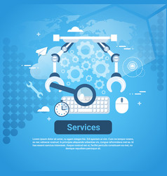 Services technical help concept web banner with vector