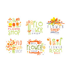 Set abstract logos for a flower shop vector