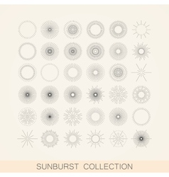 set geometric sunburst and light ray shapes vector image