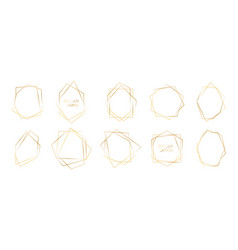set golden polyhedron frames abstract vector image