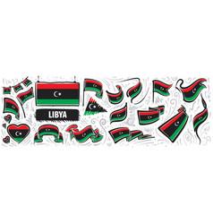 Set national flag libya in vector