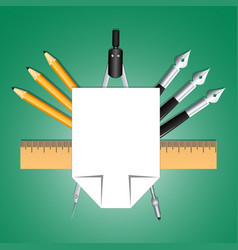 Set of educational decoration tools sheets of vector