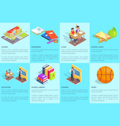 Set of posters dedicated to studying at school vector