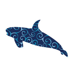 shark predato color silhouette animal vector image