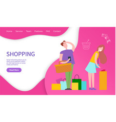 shopping customers and medial promotions vector image