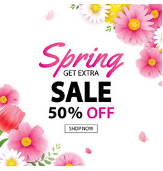 Spring sale square banner with blooming flowers vector