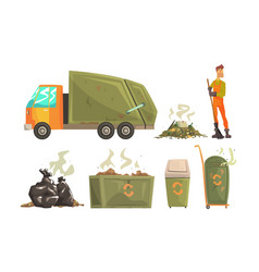 Street cleaner gathering garbage and waste vector