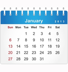Stylish calendar page for January 2013 vector image