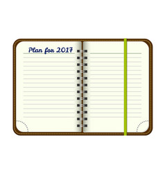 Template open a blank notepad personal vector