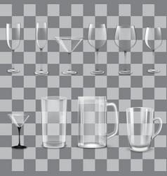 transparent empty glasses set vector image
