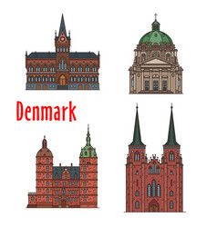 travel landmark kingdom denmark icon set vector image
