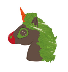 veggies vegan unicorn vegetables emoji vector image