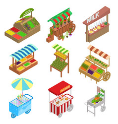 vendor food street signs 3d icons set isometric vector image