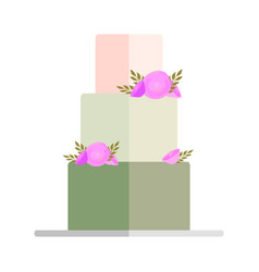 Wedding pie with bows and toppers bride and groom vector