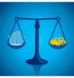 Weighing your home with lots of money vector