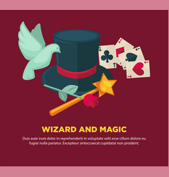 wizard and magic promotional poster with vector image