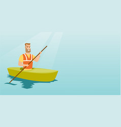 Young caucasian man travelling by kayak vector