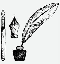 Ancient pen inkwell and old ink pen vector image vector image