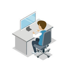 boy sit at desk with computer isometric icon vector image