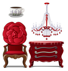 chest of drawers chandelier chair and cup vector image