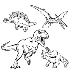 Dinosaurs Monochrome Hand Drawn Icons Set vector image