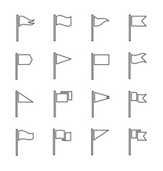 flags and pendant outline set vector image
