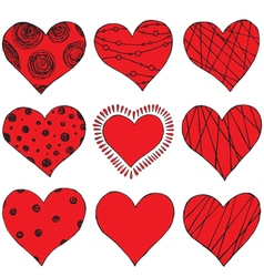 set of hand drawing hearts vector image vector image