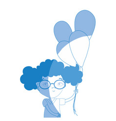 silhouette pretty girl with balloons and casual vector image