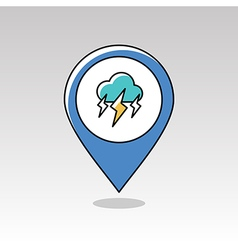 Storm Cloud Lightning pin map icon Weather vector image