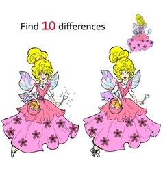 Find 10 differences Beautiful fairy vector image vector image