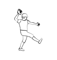 monochrome sketch of baseball pitcher vector image