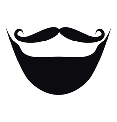 Moustache and beard icon simple style vector image