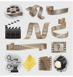 movie equipments colourful collection vector image vector image