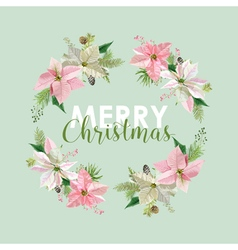 New Year and Christmas Card Flowers Poinsettia vector image vector image
