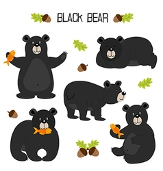 set of isolated black bear vector image vector image