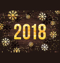 2018 happy new year card golden numbers vector image