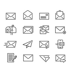 mail line icon set vector image vector image