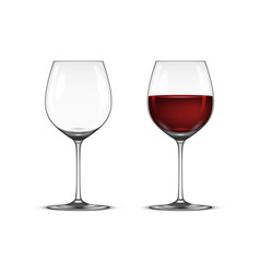 realistic wineglass icon set - empty and vector image