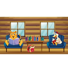 A tiger and a duck reading inside the house vector image vector image
