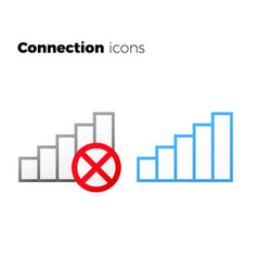 Internet access icon set no connection symbol vector