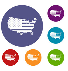 usa map icons set vector image vector image