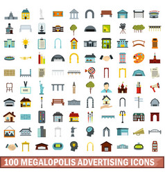 100 megalopolis advertising icons set flat style vector