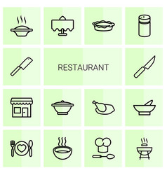 14 restaurant icons vector image