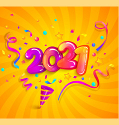 2021 new year greeting banner with cracker vector image