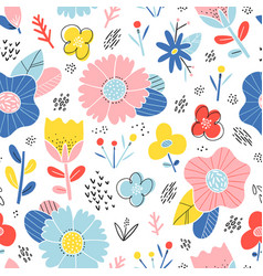 abstract happy flowers pattern vector image