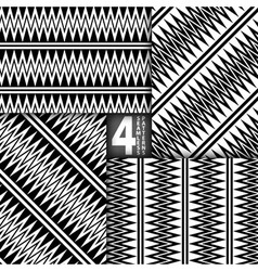 Abstract ZigZag Black White Seamless Pattern Set vector