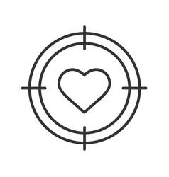 Aim on heart linear icon vector