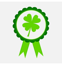 Award with clover leaf and ribbons Patricks day vector