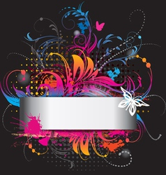 background with flower ornament on black vector image vector image