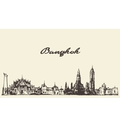 Bangkok skyline Thailand hand drawn vector
